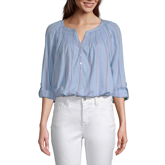 St. John's Bay Womens Y Neck Long Sleeve Blouse