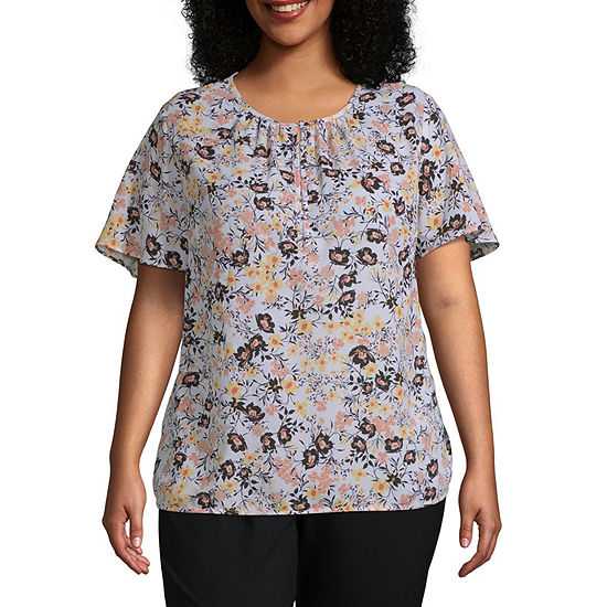 Liz Claiborne Short Sleeve Flutter Sleeve Blouse - Plus