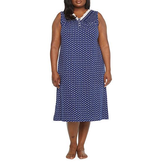 Adonna Womens Plus Sleeveless V Neck Nightgown