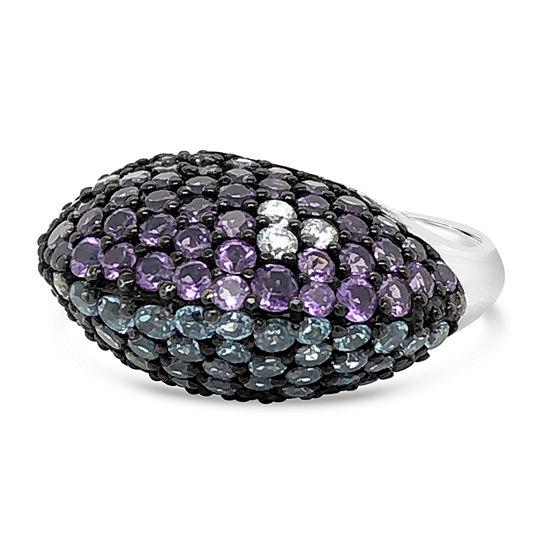 LIMITED QUANTITIES! Le Vian Grand Sample Sale™ Ring featuring Blue Topaz Grape Amethyst™ Vanilla Diamonds® set in 14K Vanilla Gold®
