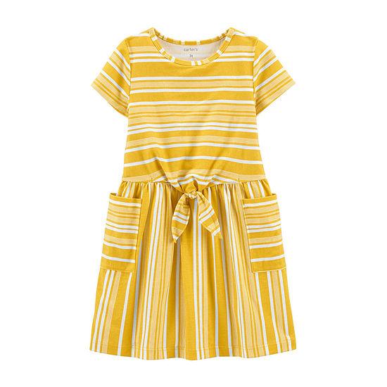 Carter's Toddler Girls Short Sleeve Striped A-Line Dress