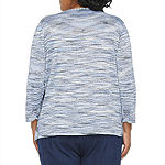Alfred Dunner Plus Denim Friendly Womens Round Neck 3/4 Sleeve Layered Sweaters