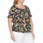 Liz Claiborne-Plus Womens Square Neck Short Sleeve Blouse