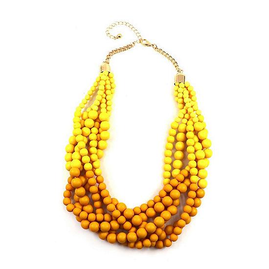 Bijoux Bar Yellow Bead Beaded Necklace