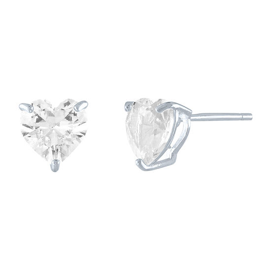 Limited Time Special! Lab Created White Sapphire Sterling Silver 7mm Heart Stud Earrings