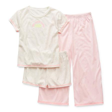 Arizona Little & Big Girls 3-pc. Pajama Set, X-large (18.5) Plus , Beige