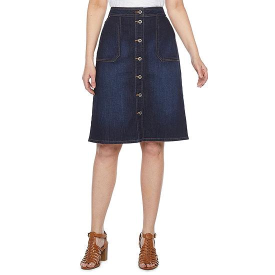 Liz Claiborne Simply Womens Mid Rise Denim Skirt