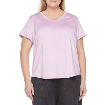 Xersion Everair Womens V Neck Short Sleeve T-Shirt Plus