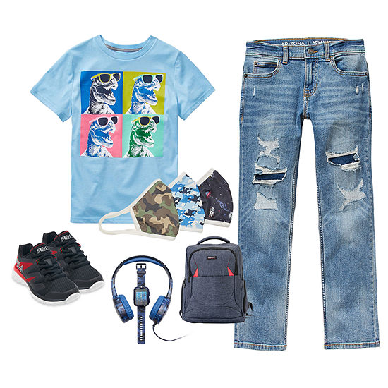 Arizona Little & Big Boys Cool Dinosaur Advance Flex 360 Slim Jean Outfit