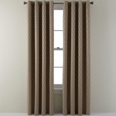 studio luna grommettop lined textured blackout curtain panel