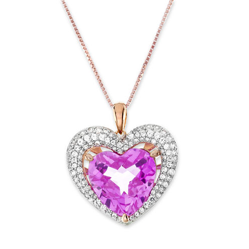 Lab-Created Pink and White Sapphire Double Heart Pendant Necklace