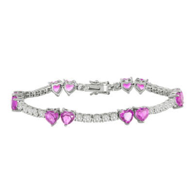 Lab-Created Pink Sapphire and Cubic Zirconia Heart Bracelet