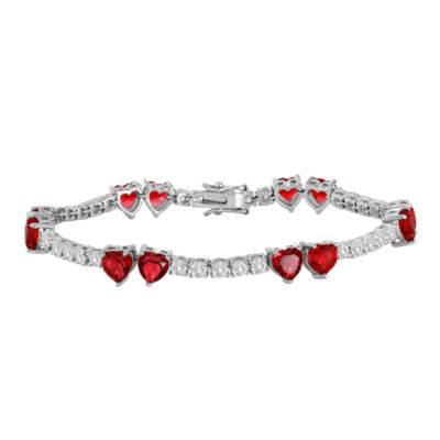 Lab-Created Ruby and Cubic Zirconia Heart Bracelet