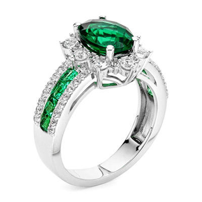 Lab-Created Emerald and Lab-Created White Sapphire Sterling Silver Starburst Ring