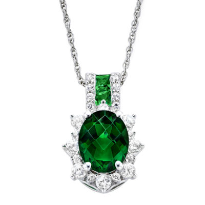Fine Jewelry Lab-Created Emerald & White Sapphire Sterling Silver Starburst Pendant Necklace u4ZwzA73