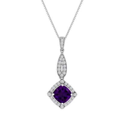 Genuine Amethyst and Lab-Created White Sapphire Sterling Silver Pendant Necklace