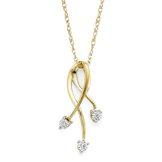 Diamond-Accent 10K Yellow Gold Floral Spray Pendant Necklace