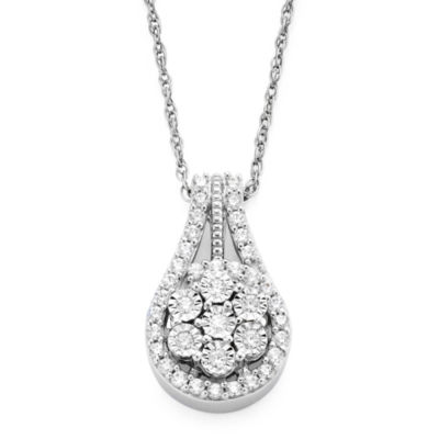 diamond blossom 1/3 CT. T.W. Diamond Cluster Orbit Pendant Necklace