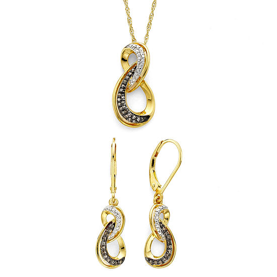1 5 Ct Tw White And Champagne Diamond Infinity Pendant Earring Boxed Set