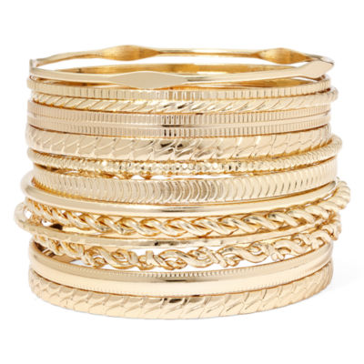 Liz Claiborne® Gold-Tone Textured Bangle Set