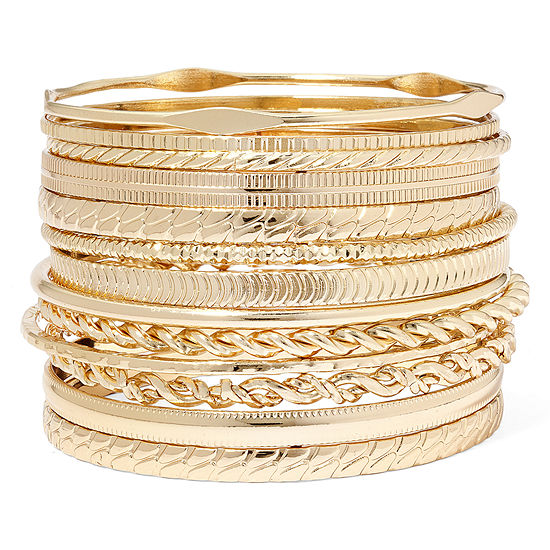 Liz Claiborne Gold Tone Textured Bangle Set
