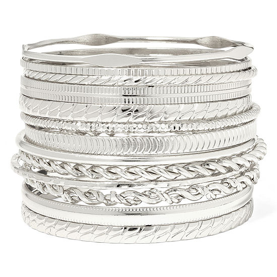 Liz Claiborne® Silver-Tone Textured Bangle Set