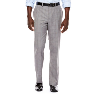 Collection by Michael Strahan Light-Gray Plaid Flat-Front Suit Pants - Classic Fit