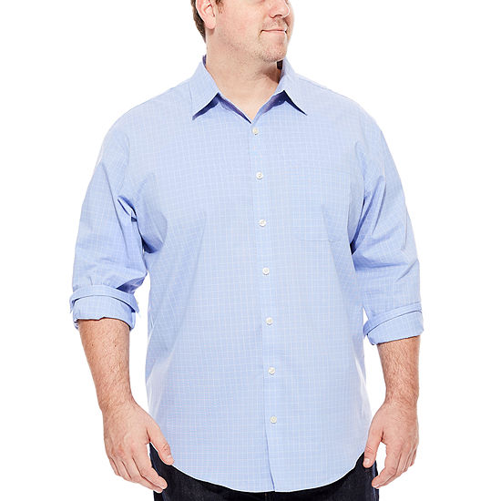 Van Heusen Traveler Stretch Non Iorn Mens Long Sleeve Checked Button Front Shirt Big And Tall