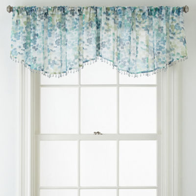 Liz Claiborne® Sabra Textured Sheer Rod-Pocket Ascot Valance with Beaded Trim