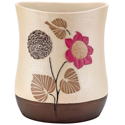 Popular Bath Lillian Floral Beige Wastebasket