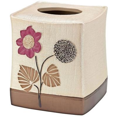 Popular Bath Lillian Floral Beige Tissue Box Holder