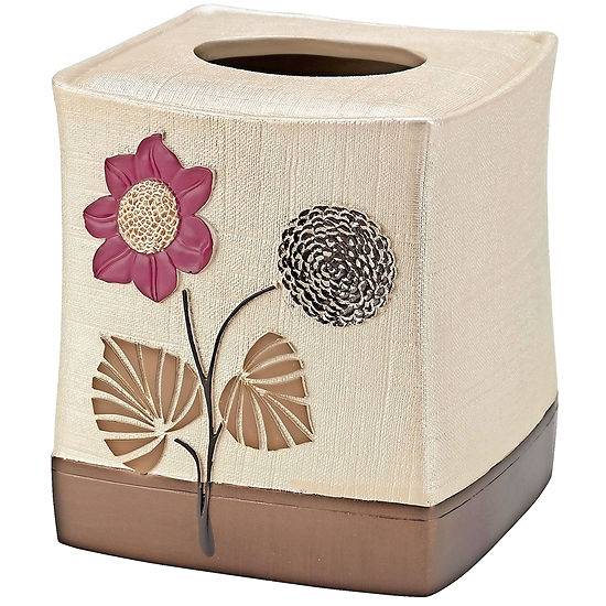 Popular Bath Lillian Floral Beige Tissue Box Holder
