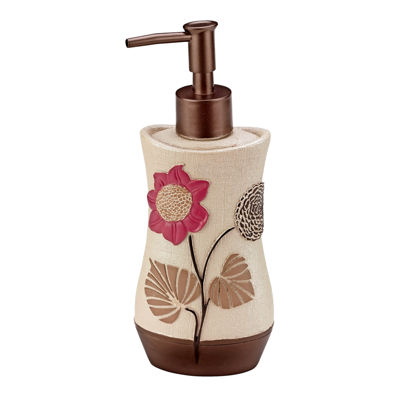 Popular Bath Lillian Floral Beige Soap/Lotion Dispenser