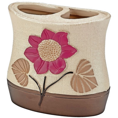 Popular Bath Lillian Floral Beige Toothbrush Holder
