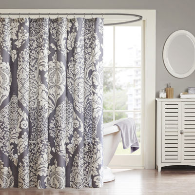 Madison Park Marcella Cotton Leaf Print Shower Curtain