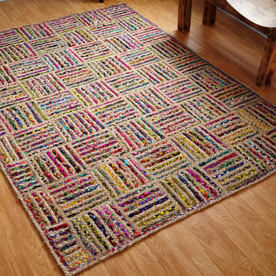 Better Trends Criss Cross Braided Rectangular Rug