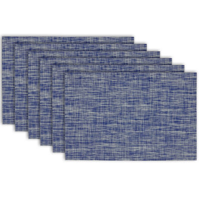 Design Imports Nautical Blue Tweed Set of 6 Placemats