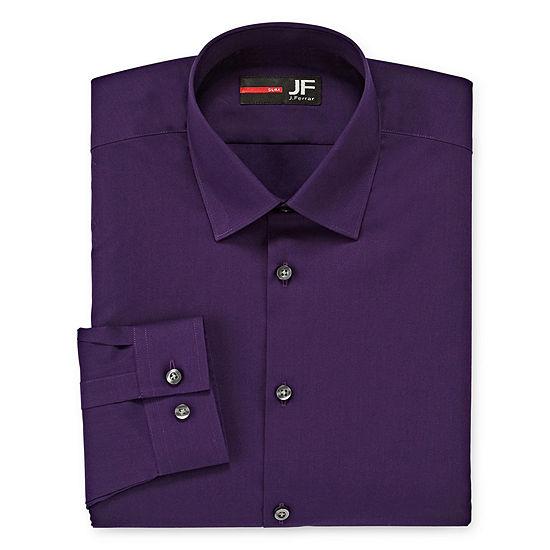 JF J.Ferrar Easy-Care Stretch Solid Mens Point Collar Long Sleeve Dress Shirt - Slim