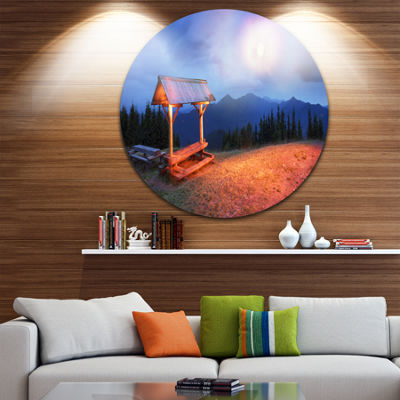 Design Art Wooden Table and Benches Circle Metal Wall Art