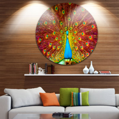 Design Art Peacock Dancing Circle Metal Wall Art