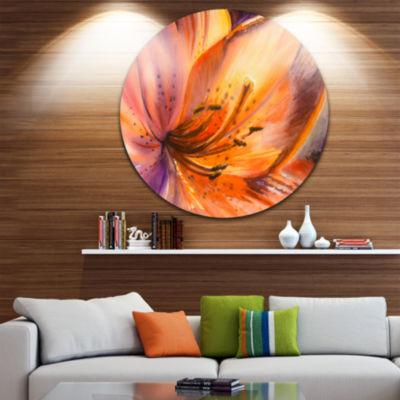 Design Art Orange Lily Flower Circle Metal Wall Art