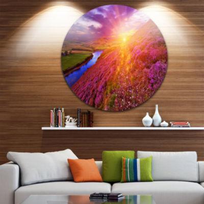 Design Art Colorful Scottish Mountains Circle Metal Wall Art