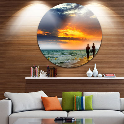 Design Art Lovers at Beach Circle Metal Wall Art
