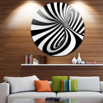Design Art Spiral Black n White Circle Metal WallArt