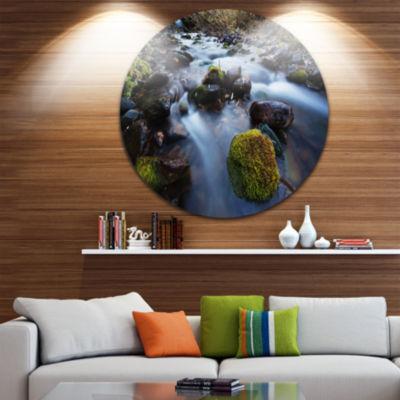 Design Art Fast Flowing Mountain River Circle Metal Wall Art