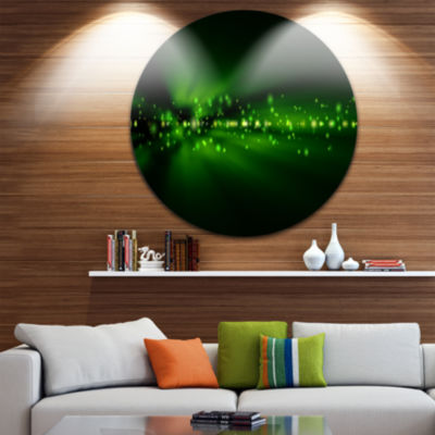 Design Art Blurred Bright Green Lights Circle Metal Wall Art