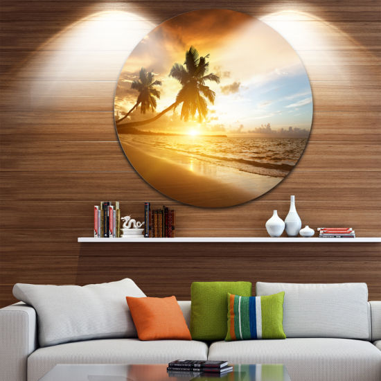 Design Art Caribbean Seashore Sunset Circle MetalWall Art