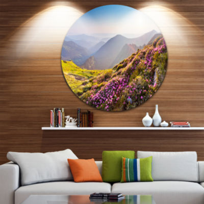 Design Art Magic Pink Flowers on Mountains CircleMetal Wall Art