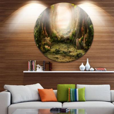 Design Art Romantic Green Forest View Circle MetalWall Art