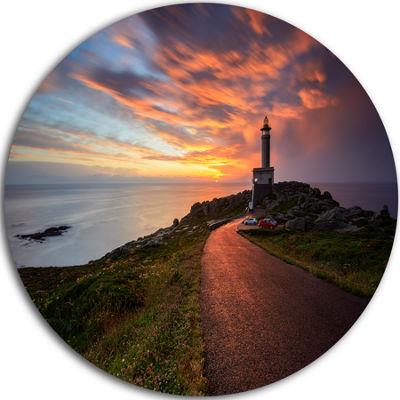 Design Art Punta Nariga Lighthouse Spain Circle Metal Wall Art